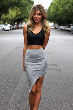 asymmetrical skirt + crop top