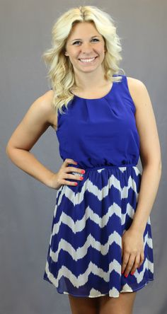 Royal Chevron Dress. Add a belt and this is super cute for summer!