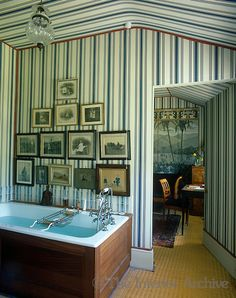 This bathroom and adjacent dressing room have been decorated in an Empire-style tent effect by English decorator of historic interiors Tom Helme. Luxury Homes Interior, Interior And Exterior, Tent Room, Striped Walls, Elegant Homes, Bathroom Interior, Bathroom Ideas, Beautiful Bathrooms, Interior Design Inspiration
