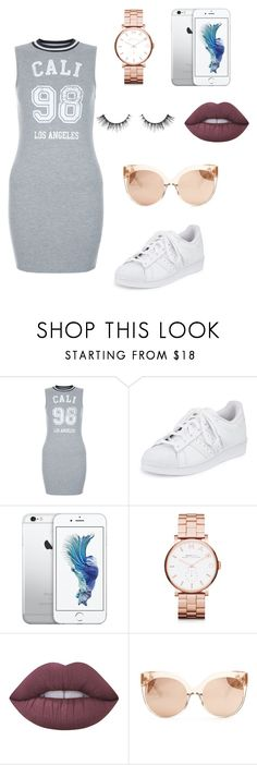 """Untitled #192"" by itsamandarose on Polyvore featuring New Look, adidas, Marc by Marc Jacobs, Lime Crime and Linda Farrow"