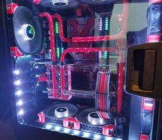 Another awesome rig from the corsair suite at CES. . . . . #corsair #corsairgaming #pc #computer #gaming #custompc #beautiful #pcgaming #pcbuild #pcmasterrace #ekwb #watercooling  #CES #red #ces2017  #rgb #epic
