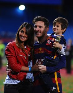 Lionel Messi and family after Copa Del Sol victory