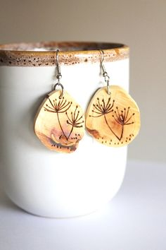 Carved Wood Earrings  Tree Branch Earrings  by BessiesCreations