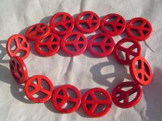 Red Howlite Turquoise Peace Sign #Beads