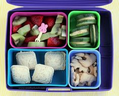 "Laptop Lunches Kindergarten lunch with sandwich ""ravioli"", cucumbers & hummus, fruit by anotherlunch.com, via Flickr"