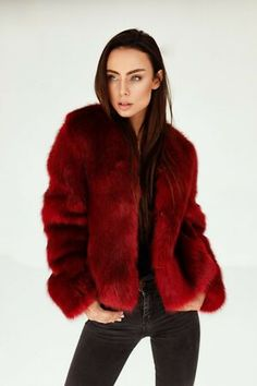 Beautiful Red Short Faux Fur Bomber Jacket Womens Jackets from top store Festival Looks, Fur Bomber, Bomber Jacket, Faux Fur Jacket, Fur Coat, Red Shorts, Outfit Of The Day, Winter Fashion, Jackets For Women