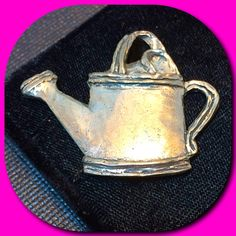 Silver-tone Watering Can Brooch Pin