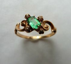 Beautiful Victorian Antique Emerald and Seed Pearl Ring 14K, via Etsy.