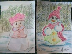 A Pretty Talent Blog: Watercolours: Snowman Drawing Lessons, Watercolours, Bookmarks, Still Life, Cardmaking, Snowman, Arts And Crafts, Drawings, Pretty