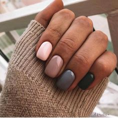We have a different design with glass nail art. All but one of the nails are light pink. What we really like about this manicure is the charm of the hanging nails. Cute Acrylic Nails, Cute Nails, Pretty Nails, Gradient Nails, Cute Fall Nails, Short Nails Acrylic, Grey Gel Nails, Simple Fall Nails, Short Nails Art