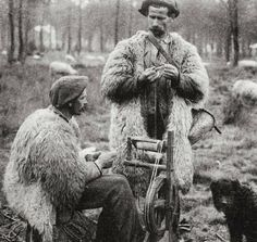 shepherds spinning wool … landes, france … circa1900-1920 …