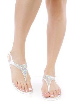 White Rhinestone Holographic Thong Sandals PVC