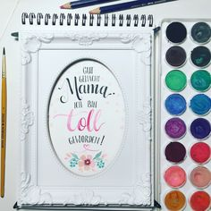 watercolor watercolor Aquarelle Acuarela pintura florals Lettering Geschenk Muttertag Papier Bild motherday mother Mutter