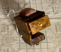 """Clamp-on Sewing Box The box measures 5"""" x 3 3/4"""", circa 1840 - 1860."""