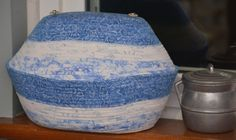 Fabric Rope Coiled Basket with Lid: Holiday Christmas Blue White Silver Snowflakes - Oval by HandMadeBySandraM on Etsy