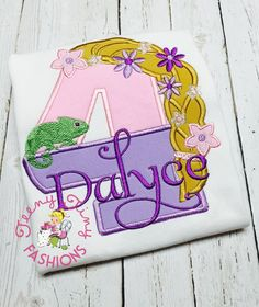 Rapunzel Birthday Party shirt ~ INCLUDE BIRTHDAY NUMBER AND NAME FOR PERSONALIZATION  Your purchase includes the custom embroidered shirt or