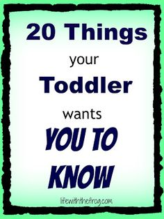 20 things your toddler wants you to know