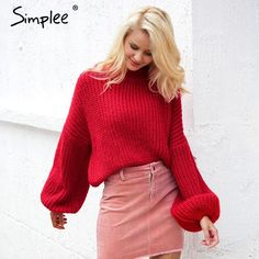 Simplee Winter lantern sleeve knitted sweater pullover Women loose round  neck red sweater Female autumn casual sweater jumper a43c0f835