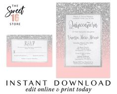 Instant Download Quinceanera Invitation and RSVP card, Pink and Silver Glitter Quince Printable Template, Court of Honor Quince Party Invite Sweet Sixteen Invitations, Pink Invitations, Birthday Invitations, Text Message Invitations, Invitation Text, Invite, Quinceanera Invitations, Quinceanera Party, Sweet 16 Birthday