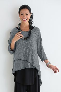 Pucker Asymmetrical Top by Noblu: Knit Top available at www.artfulhome.com