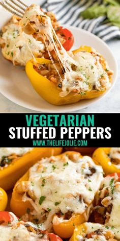 Vegetarian Stuffed Peppers are a healthy, satisfying meal that comes together quickly! This easy weeknight dinner recipe is perfect for Meatless Monday and full of rice, veggies, cheese and Italian-inspired flavors! Baked Stuffed Peppers, Vegetarian Stuffed Peppers, Vegetarian Entrees, Recipe Please, Meat Lovers, Easy Weeknight Dinners, Meatless Monday, Food Inspiration, Food Ideas