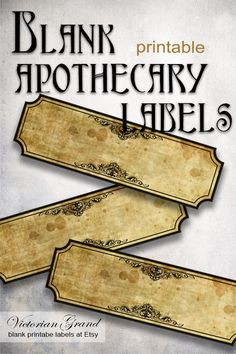 Digital blank apothecary labels, to write on. Potion Labels, Blank Labels, Book Names, Name Stickers, Vintage School, Printable Labels, Vintage Labels, Digital Collage, Collage Sheet