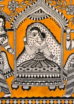 """Madhubani mithali made in cold pressed paper and acrylic paint. It's beautiful art of monochromatic folk art with mustard golden yellow in the background Dimension: x 16 """" Material : Black Indian ink, acrylic on cold press paper Unframed . Madhubani Paintings Peacock, Madhubani Art, Indian Paintings, Monochromatic Art, Original Paintings, Original Art, Indian Folk Art, Tribal Art, Beautiful Paintings"""
