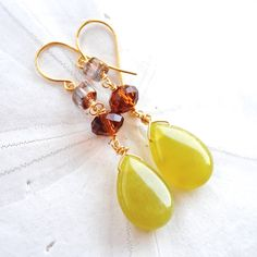 Fun earrings for Fall! Olive Jade with Amber & Grey by laurenamosdesigns on Etsy, $24.00