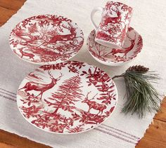 Shop Christmas plates and dinnerware from Pottery Barn. Get into the Christmas spirit and set your table with festive plates in a variety of colors and materials. Christmas Table Settings, Christmas Tablescapes, Holiday Tables, Christmas Decorations, Holiday Decor, Christmas China, Christmas Dishes, Christmas Foods, Christmas Holidays