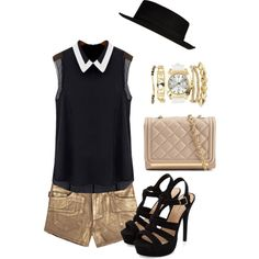 Classy Summer Black Gold by francescagarcia1 on Polyvore featuring mode, Zadig & Voltaire, ALDO, Charlotte Russe and River Island