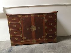 Vintage Asian Campaign-Style Cabinet Chest Of Drawers