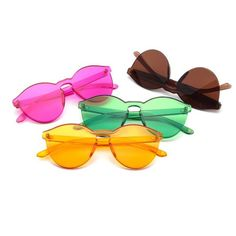 0b5557c59c  Fashion  BestPrice POLYREAL Women Rimless Cat Eye Sunglasses Candy Color  Vintage Oval Candy Colors