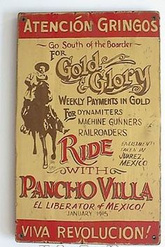 Viva Revolucion - Pancho Villa Canvas Print / Canvas Art by Richard Reeve Pancho Villa, Vintage Advertisements, Vintage Ads, Western Photo, Chihuahua Mexico, Mexican Revolution, Le Far West, Cool Posters, Old West