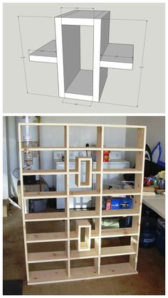 DIY Media Shelves :: FREE PLANS at buildsomething.com