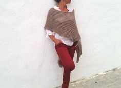 Knit wool poncho, women poncho,loose knit poncho, wool wrap,  poncho sweater, light brown knit, knitwear, winter trend, by EstherTg on Etsy https://www.etsy.com/listing/205126284/knit-wool-poncho-women-poncholoose-knit