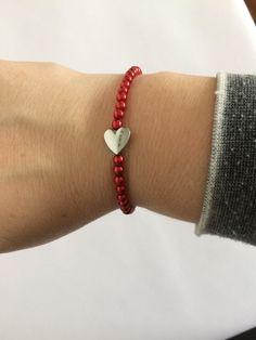 Red Beaded Stretch Bracelet Adjustable Boho Bracelet 925 Sterling Silver Heart