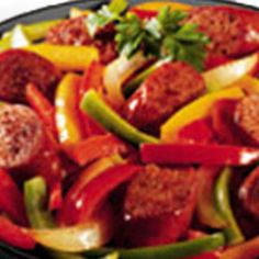 Italian sausage w/ peppers and mixed vegetables Recipe Main Dishes with browning, tomato sauce, stir fry vegetable blend, pepper, basil, salt, pepper, cooked rice