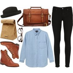 """The denim shirt"" by hanaglatison on Polyvore"