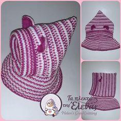 Χειροποίητο πλεκτό Σκουφάκι κουκούλα με ενιαίο λαιμό Crochet Hats, Fashion, Knitting Hats, Moda, Fashion Styles, Fashion Illustrations