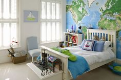 World Map Wallpaper - Boys Bedroom Ideas - Design & Decorating Ideas (houseandgarden.co.uk)