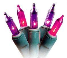 Set of 50 Pink and Pinkish-Purple Princess Mini Christmas Lights - Green Wire