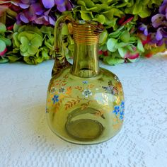 Beautiful Vintage Moser Glass Ewer Hand Painted Enamel Flowers Butterfly ~ Gold #Moser