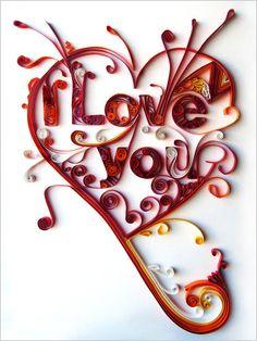 beautiful curly paper art-I Love You-in heart...