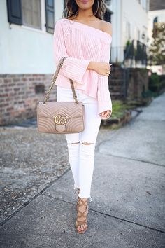 Southern Curls & Pearls: Pink Sweater in Charleston