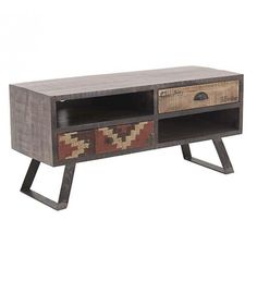 WOODEN TABLE W_FABRIC DETAILS IN BROWN COLOR 105X40X51