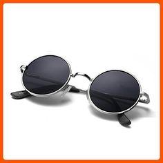 Menton Ezil Round Vintage Mirror Lenses UV protection Polarized unisex Small Lennon Hippie Syle Sunglasses for Men With Black Silver Metal Frame Black Lens ME8124 - Sunglasses (*Amazon Partner-Link)