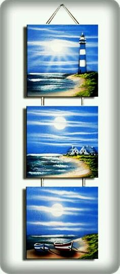 Use mini canvases and ribbon/cord Painting Lessons, Painting Techniques, Painting & Drawing, Pictures To Paint, Art Pictures, Images D'art, Acrilic Paintings, Lighthouse Painting, Creative Artwork