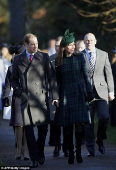 12/25/2013: Christmas Day service at The Church of St. Mary Magdalene, with Prince William, Peter Phillips, & Mike Tindall (Sandringham, Norfolk)