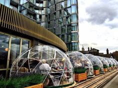 Coppa Club, London, England - Reserve one of these cool #StunningStructures pods on the bank of the river Thames and sip a cocktail as you people watch.