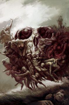 Skull Art by Mihai Tymoshenko ☠️ Image Illusion, Illusion Art, Dark Artwork, Skull Artwork, Skull Drawings, Illusion Paintings, Beautiful Dark Art, Skull Pictures, Demon Art